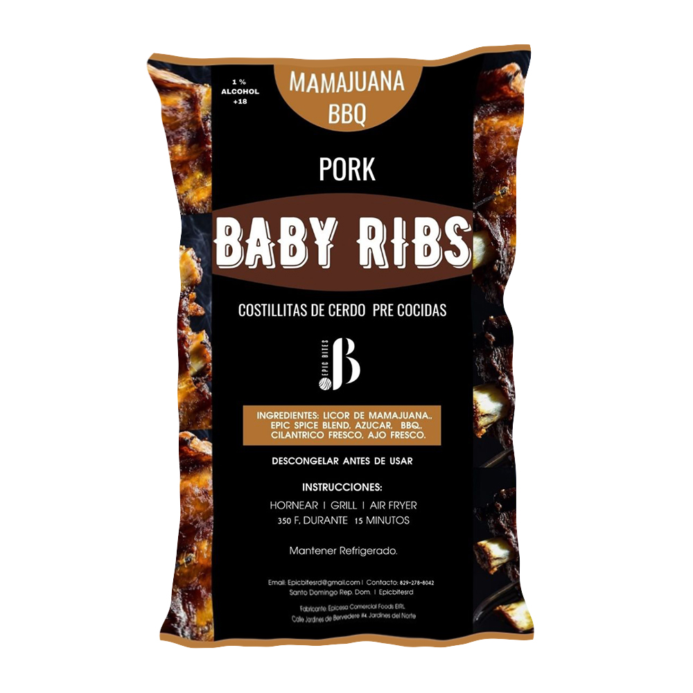 Costillas de Cerdo Precocidas Epic Bites Mamajuana